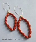Oval Warm Orange Wood and Gold Earrings